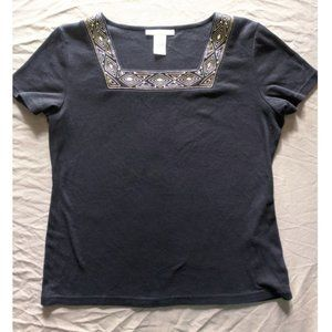 Top with embellished neckline ~EUC~